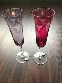 purple and pink translucent wine glasses