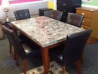 New marble top table with 6 chairs