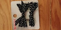 Black and white doted hair bow barrets Winnipeg