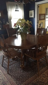 Brown wooden dining table set 6 chairs with middle insert . Troy, 12180