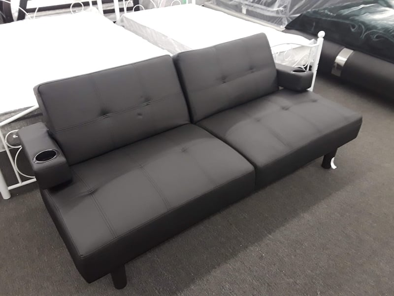 Black Faux Leather Futon W Cup Holders