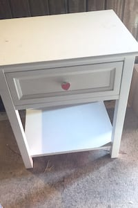 White Nightstand with Pink Heart Drawer Pull -