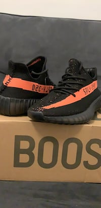 Pair of black adidas yeezy boost 350 v2 on box Hamilton, L8V