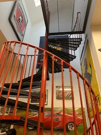 Spiral stairs.  6'diameter with total height of 14' plus 3x3 platform Can be adjusted to any height Always used indoors but is ideal use is as an exterior legal staircase for a 2'nd floor apt , loft  apt access etc.  Currently used as indoor staircase and Ossining