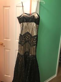 black and gray floral spaghetti strap dress