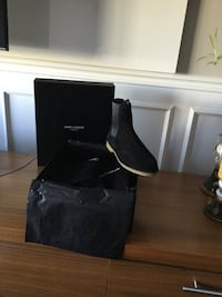 Men's designer YVES Saint Laurent Paris size 11-12 booties/shoes black with box and tags asking 750$ 787 km