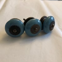 3 blue ceramic knobs WASHINGTON
