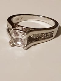 square-cut silver-colored 18k plated ring