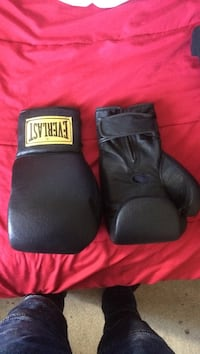 black Everlast leather boxing gloves Edmonton, T6J