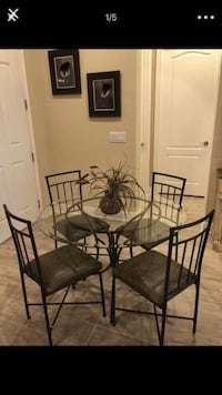 black metal framed glass top table with chairs set Winter Garden, 34787