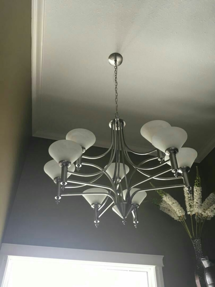 Used silver and white uplight chandelier in Sherwood Park - letgo