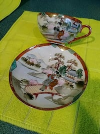 two white and green ceramic decorative plates Toms River, 08757