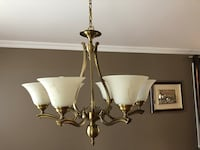 brass and white uplight chandelier Vaughan, L4J 6G8