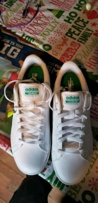 white-and-green cloud foam adidas size10 22 mi