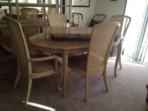 """Brown wooden dining table set with 24"""" leaf"""