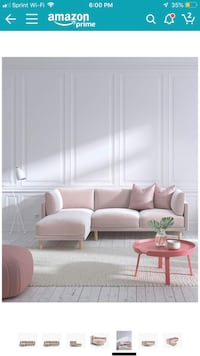 Blush/ pink sofa / couch Anderson Sectional-Left-Hand-Facing Miami, 33130