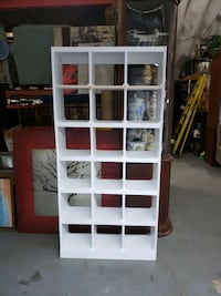 Solid wood 18 cube white bookcase