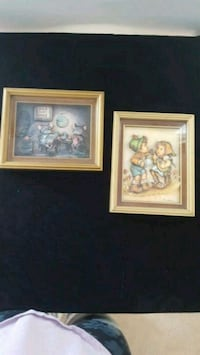 two work art wall decor with brown frames