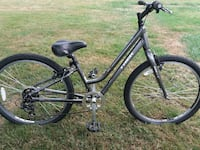 black and grey Trek mountain bike