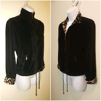 Womens York Harbor Black Velour Zipper Track Jacket w/ Leopard Trim Las Vegas, 89121