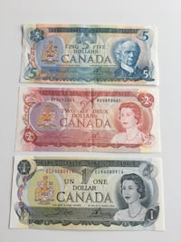 "Set of ""1973, ""1974, & ""1979 Scene Series Canadian Bills - Crisps!   Calgary, T2R"