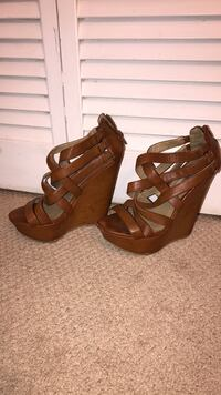 Brown strappy wedges OBO