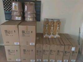 WHOLE SALE!!! 30 Hampton bay lamps and 30 round bell shades