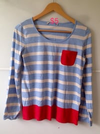 blue and white striped long-sleeved shirt