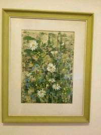Greenish wooden framed painting of flowers Gaithersburg, 20878