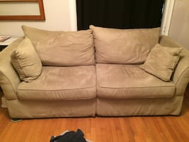 Green microfiber couch