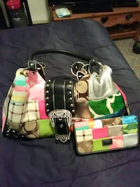 green, white, and pink leather tote bag Colfax, 50054