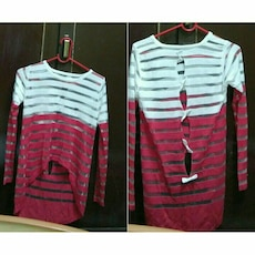 red and white stripe long-sleeve shirt