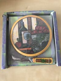 Wine Art Round Cheese Board and Knife by MSC Toronto, M9P 3R2