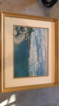 White and blue abstract painting with brown wooden frame Perry Hall, 21128