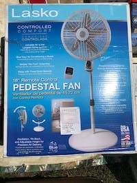 Blue and white lasko pedestal fan Asheville, 28803