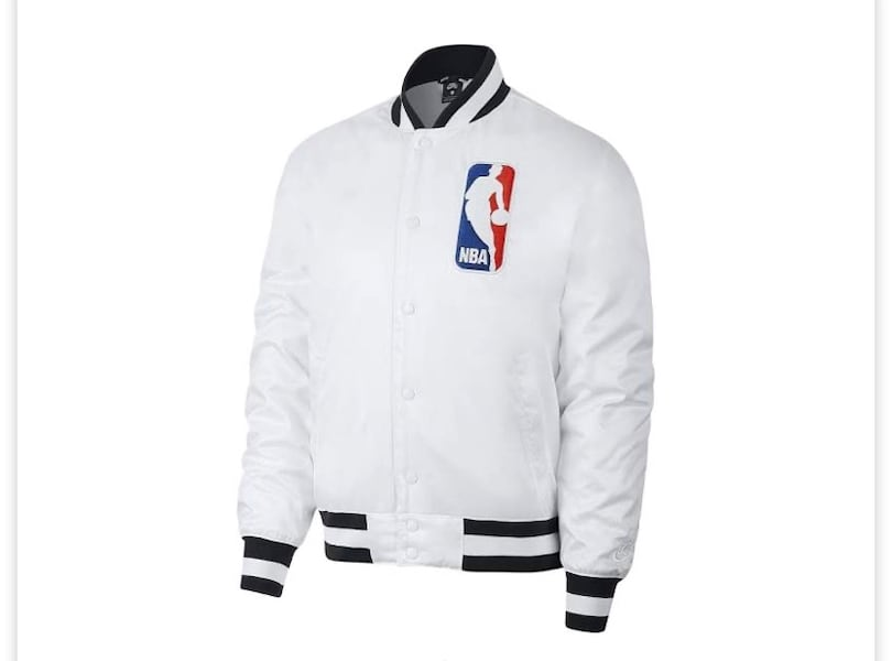 Nike Sb Mens Nba Snap Front Satin Bomber Jacket White/black Ah3392 6