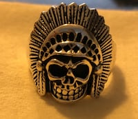 925 Silver Chieftain Skull Ring Size 13 Airdrie, T4B