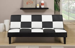 BLACK AND WHITE ADJUSTABLE SOFA NEW FAUX LEATHER