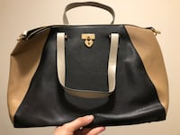 Black and white leather 2-way bag