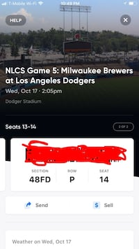 Game 5 NLCS Dodgers vs Brewers 2:00 pm 10/17/18 Rosemead, 91731