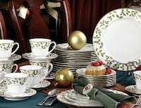 Holiday Holly and Berry Gold 40 Piece China Dinnerware Set, Service fo Easton