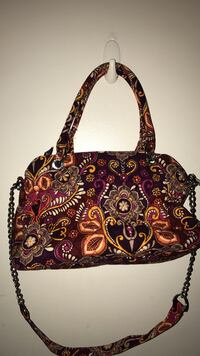 Brown, red and white floral 2-way handbag