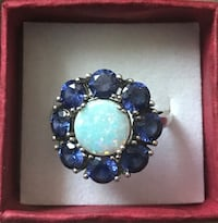 Brand New SOLID Sterling Silver Flower Ring with 1 TCW Natural Opal and 2 TCW Natural Blue Sapphires! Sz 9! $55 OBO   Syracuse, 13208