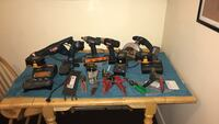 Assorted tools ryobi set with 4 chargers and 5 batteries and assorted hvac mechanic tools Manchester, 03103