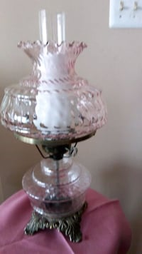 white and pink floral glass table lamp Burke, 22015