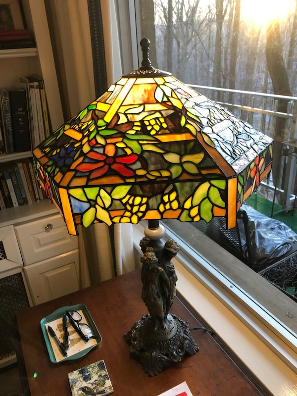 black and green stained glass table lamp