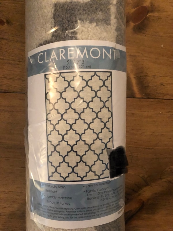 """Area rug 5x7'3"""" Gray/ off white  color"""