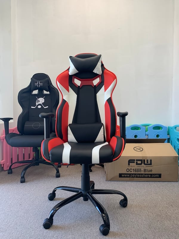 Black white red gaming chair with recliner dd069164-04c8-4608-93c6-7be072276beb
