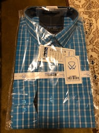 Blue and white plaid button-up shirt