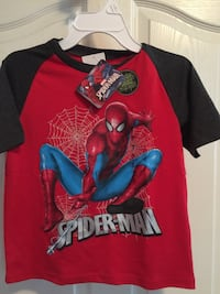 red and black Spider-Man-graphic printed crew-neck t-shirt boys